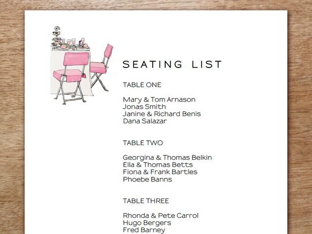 wedding seating list template