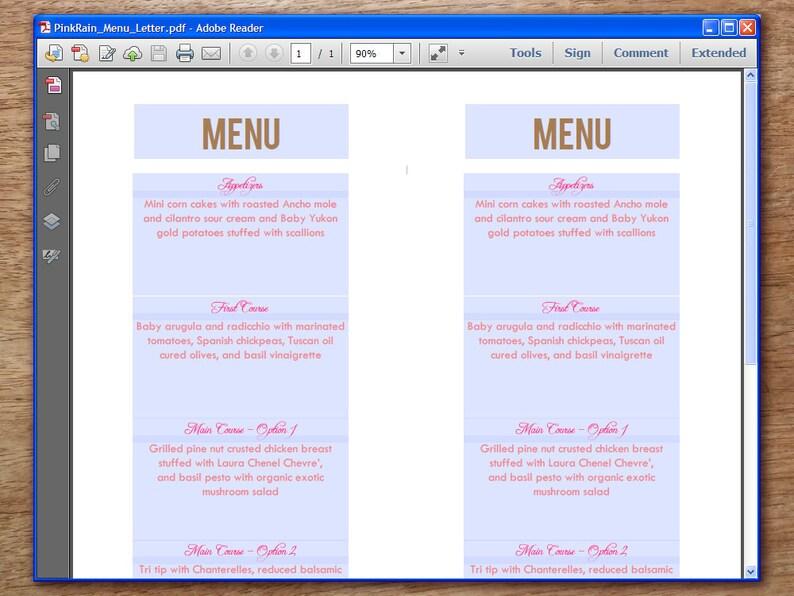 Pink and Brown Printable Wedding Menu Template - Wedding Menu - Printable  Menu Template - Menu Template - Menu Cards - Printable Menu PDF