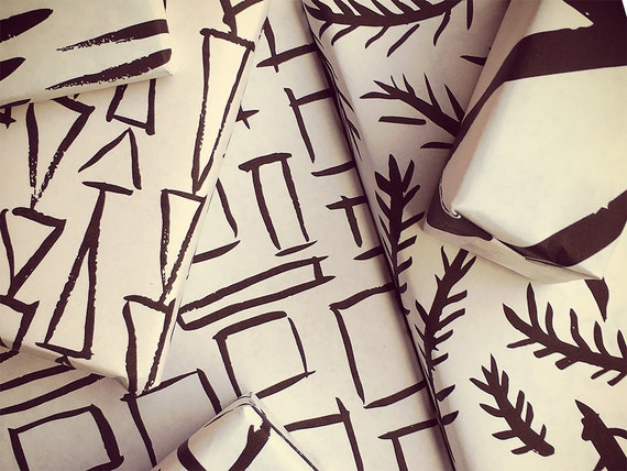 black and white wrapping paper printable wrapping paper etsy