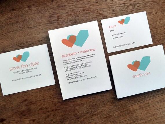 Druckbare Hochzeitseinladung Set blaue und rote Herzen | Etsy