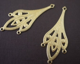 Raw Brass Filigree Chandelier Wraps - 14mm x 35mm - 10 pcs