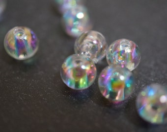 Tiny Small Clear AB Bubbly Bubbles Round Beads - 4mm - 100 pcs