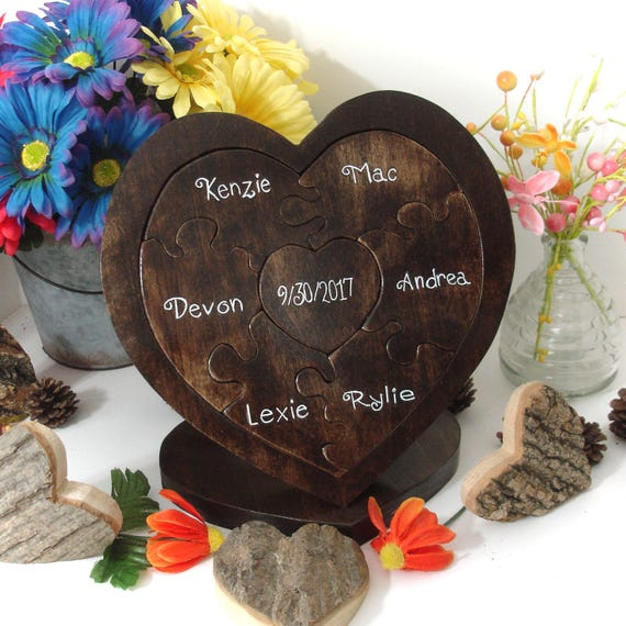 Family Custom Designed Unity Puzzle ® Blended Family Wedding Gift For Couple Rustic Wedding Heart Puzzle Family Heirloom OOAK  Gift Keepsake