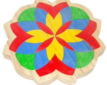 Handmade Mosaic Wooden  Tray Puzzle - Flower Mandala 2