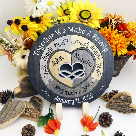 Unity Candle Alternative Unique Unity Ceremony Ideas Symbolic Unity Puzzle in a Tray Personalized Blended Family Wedding Gift for The Couple