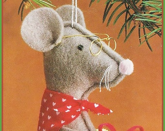 Christmas Mouse Ornament Pattern, Christmas MOUSE Felt Sewing Pattern --Easy Pattern #CFT9047 PDF  -Available Mailed- DurhamDeals