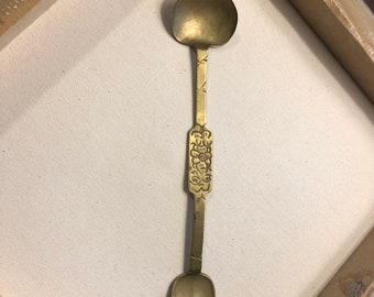 Antique Apothecary Double Spoon-Brass Or Bronze Finish--EXCELLENT CONDITION--Antique 18th C Or Earlier--DurhamDeals