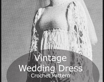 Vintage Wedding Dress Crochet Pattern 1960's Wedding Dress Pattern To Crochet Pattern PDF File #CRW902  Mailed Available--DurhamDeals