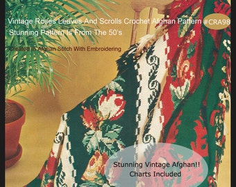 Christmas Afghan Crochet Pattern Roses Leaves And Scrolls Holiday Afghan  Dates 50's #CRA98- PDF  Mailed Copy Is Available-DurhamDeals