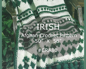 St. Patricks Day-IRISH Afghan, Crochet Pattern, Clover And Diamonds Irish Afghan Crochet Pattern With Tassels,  #CRA80-PDF  --DurhamDeals