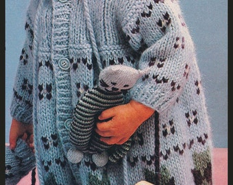 3846990db2ef79 Baby Child Coat Knitting Pattern + Free Cat Toy Knitting Pattern!  KN644  PDF --Instand Download Mailed Copy Available Inquire DurhamDeals