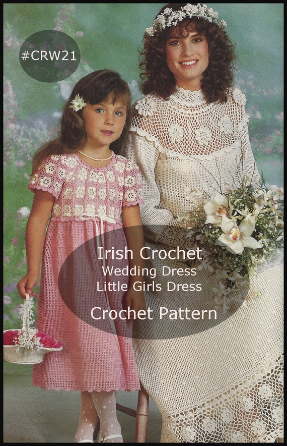 Pdf Irish Crochet Wedding Dress And Flower Girl Dress Free Etsy