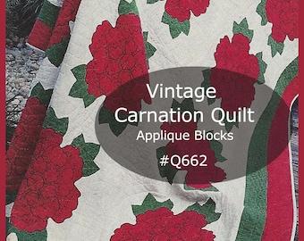 Carnation Quilt Pattern Carnation Applique Quilt Block Carnation Sewing Pattern Quilt Applique Blocks For Quilt #Q662   PDF-  DurhamDeals