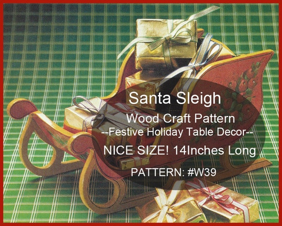 Santa Sleigh Wood Craft Pattern Holiday Sleigh Woodworking Etsy