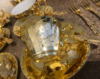 GOLD Plated Tea Set, Gold Teapot-Sugar-Creamer 6 Demitasse Cups And Saucers, 6 Spoon And 6 Dessert Forks--Beautiful Vintage Lot-DurhamDeals