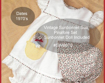 Sunbonnet Sue Sewing Pattern, Childs Sewing Pattern,Pinafore,Bloomers, Matching SunBonnet Sue Doll,  Vintage Pattern, #SWB670, DurhamDeals