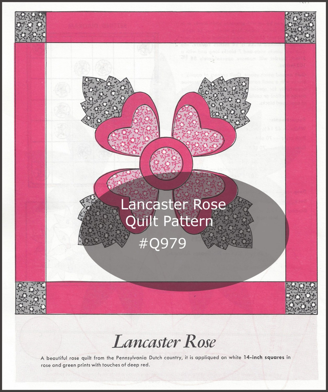 Flower Quilt \'LANCASTER ROSE\' Quilt Block/Appliqué
