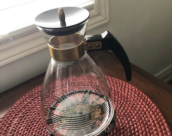 Vintage Pyrex Coffee Pot, 1950s Pyrex Coffee Pot, Cast Metal Warming Base, Retro Glass Pyrex Coffee Carafe, Never Used--Mint--DurhamDeals