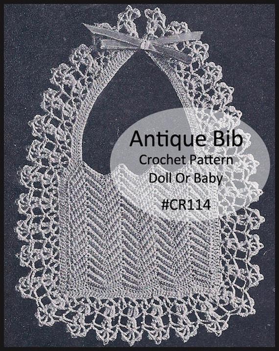 Antique Bib Crochet Pattern Baby Bib Crochet Antique Crochet Etsy