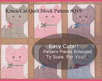 VINTAGE Cat Quilt Block Kitten Block Sewing Pattern-Create Any Size Quilt- #Q19---PDF Instant Download---Mailed Copy Also Available Inquire