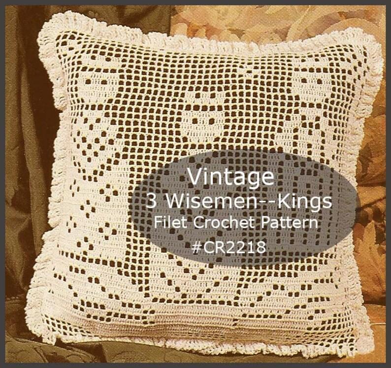 Wisemen Crochet Pattern 3 Kings Crochet Filet Crochet Pillow Etsy