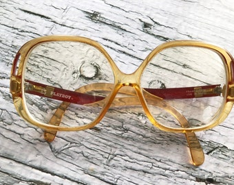 Ladies PLAYBOY Eyeglass Frames, 1980s Women's, Red Tops And Sides, Large Eyeglass Frames,Made In Austria, Model #4506, Pre-Owned-DurhamDeals