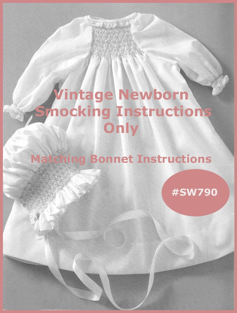 Newborn Smocked Dress Instructions Bonnet Pattern -Smocking Instructions  Read The Listing PDF File Mailed Copy Available Inquire DurhamDeals