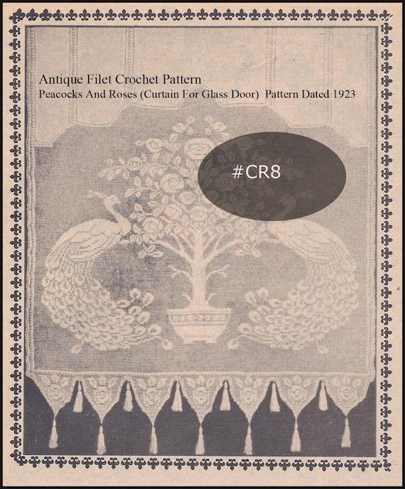 Antieke Pauwen En Rozen Filet Gehaakt Gordijn Panel Data 1923 Etsy