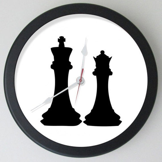 Chess Pieces King Queen Black On Clock Chess King Chess Queen Etsy