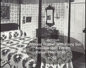 Antique Quilt Pattern Antique Applique Quilt Called 'Princess Feather With Rising Sun'' Full Size Patterns-Dates 1840-1850 MAILED PATTERN