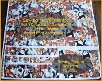 Sewing Machine Mat, Sewing Organizer,Sewing Garbage Catch All,Pin Cushion Too! #SW755 Pdf File--Mailed Available--DurhamDeals