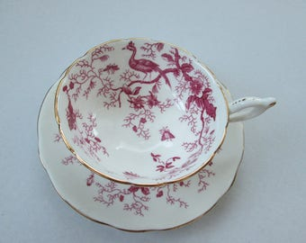 Coalport Cairo Bird And Insects Cup And Saucer Fuschia/Pink Teacup -Bone China England China Cabinet Stored DurhamDeals