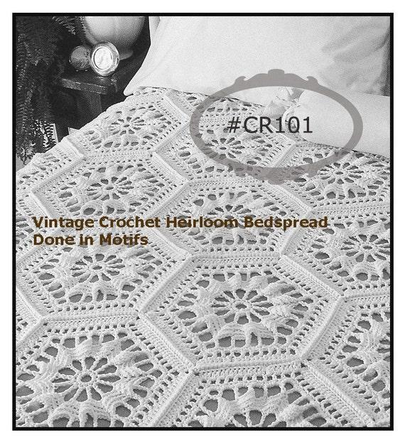 Vintage Crochet Pillow PATTERN MOTIF Bedspread Basket