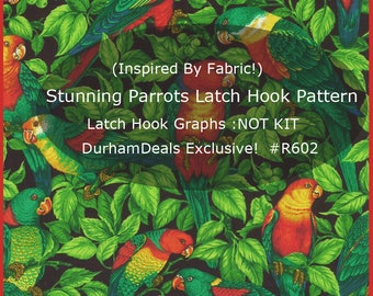 Parrots Latch Hook Pattern Parrots Rug Pattern Latch Hook Graphs --GRAPHS-Not Kit  Custom Designed By DurhamDeals #R602-PDFFile  DurhamDeals