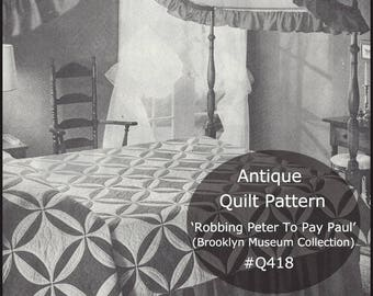 Antique Quilt Pattern Robbing Peter To Pay Paul-Dates 1850's--Resides Brooklyn Museum--Unless  Recently Sold--Mailed Copy Only --DurhamDeals