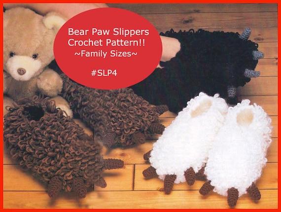 Hausschuhe häkeln Pfoten Hausschuhe Muster Bear Paw Hausschuhe | Etsy