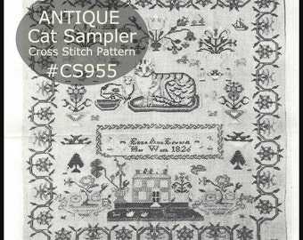 Sampler Antique Cat Sampler Antique Cat Cross Stitch Museum Sampler Was Created in 1826 Remake Of Original--SHIPPED PATTERN- DurhamDeals