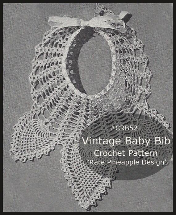 Pineapple Bib Baby Bib Christening Crochet Pattern Rare Etsy