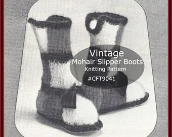 Slipper Boots Knitting Pattern Vintage Mohair Slipper Boots  Pattern /WARM Slipper Boots To Knit---Pattern Dates 1962--PDF File--DurhamDeals
