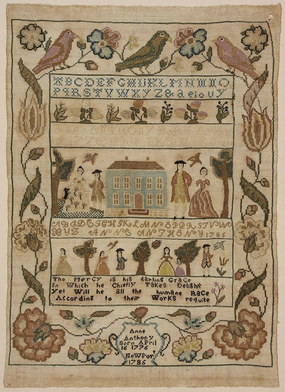 Rare colonial inspired friendshipsampler stamped crossstitch kit.