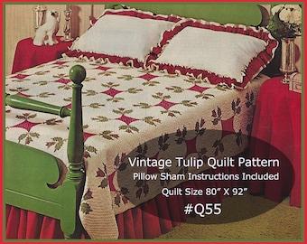 Tulip Quilt Pattern, Vintage Tulip Quilt, Quilt Pattern For Tulip Bedspread/Shams--Q55-Dates 1971---PDF--DurhamDeals