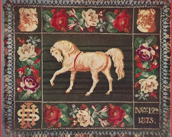 Victorian Horse Afghan Crochet Pattern #CR58 Pattern Not Item  PDF Instant Download- Mailed Copy Also Available Inquire