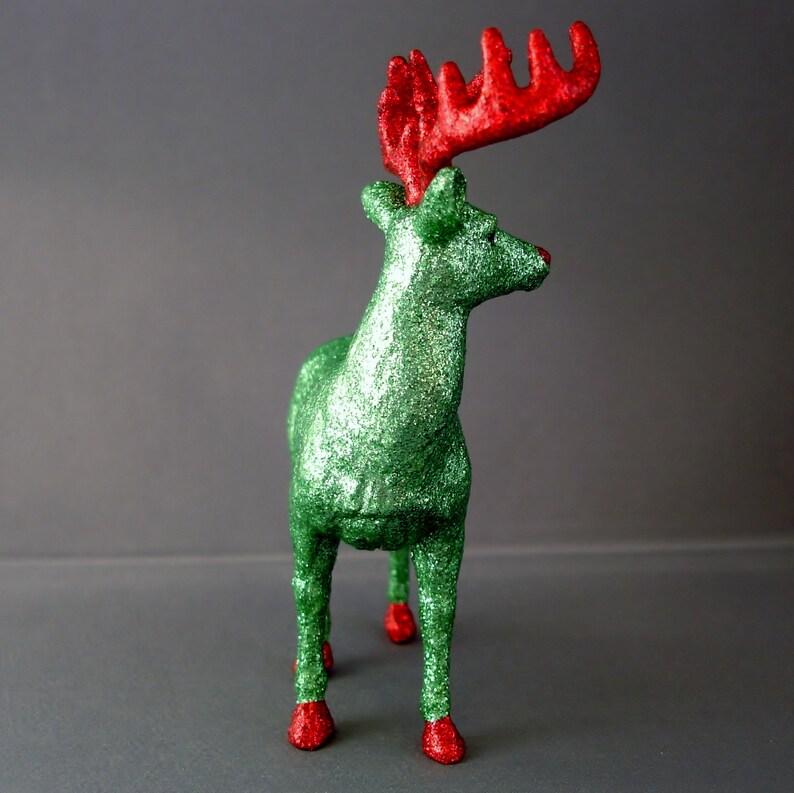 Green Glitter Red Glitter Glitter Animal Glitter Ornament Animal Ornament Tree Ornament Christmas Decor Deer Deer Ornament