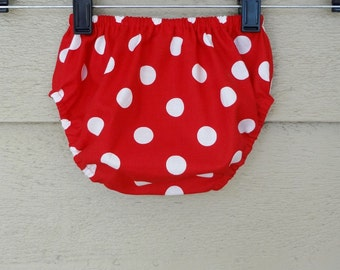 Bloomers 0-24 months Red and White Polka Dot Diaper Cover