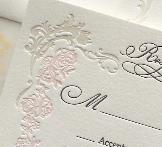 Matchy Matchy Letterpress Invite And Handmade Envelope: Letterpress Wedding Invitation Versailles SAMPLE