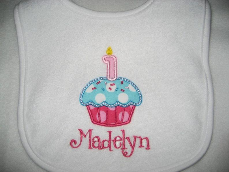 First Birthday bib Baby girl Cupcake Birthday bib pink and aqua bib monogrammed bib cake smash