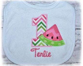 Birthday watermelon bib, number one bib, watermelon party, monogrammed bib, pink and green, summer, embroidered watermelon bib