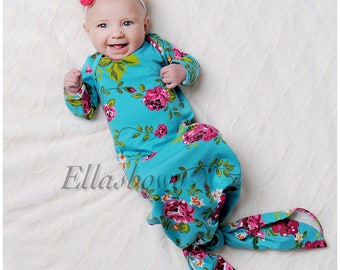 c7f987d22341 Soft Cotton Knotted Newborn Gown....Hospital Gown.... Bringing Home Baby