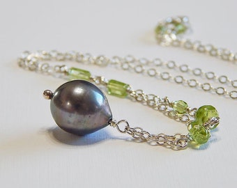 Momi  with Peridot Necklace / Pearl, Peridot Gemstone, Sterling Silver, Green, Gray, Tahitian, Made in Hawaii, Modern, Hawaiiana, Hawaiian