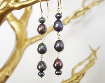 Earrings - Pearl, 14kt gold filled, peacock, purple, teardrop, made in hawaii, hawaiian, tahitian, wedding, birthday